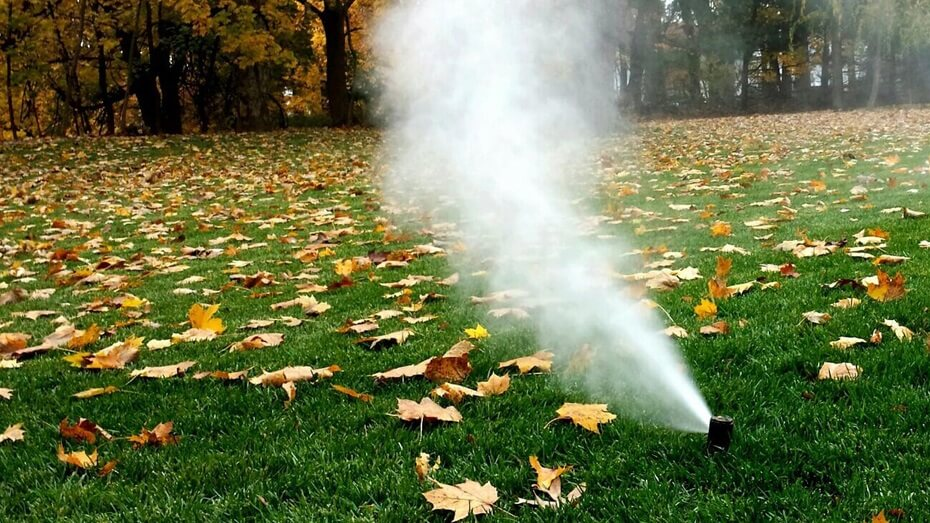 lawn sprinkler blow out during autumn