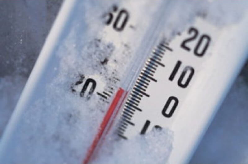 thermometer covered with frost